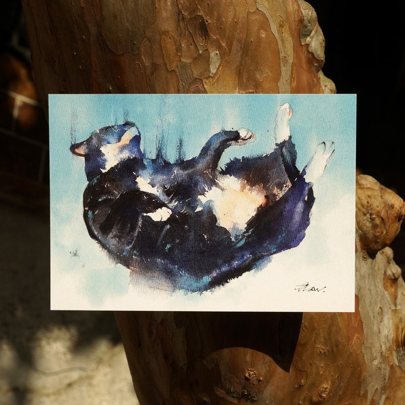 Watercolor painted hair boy series postcard - gift falling from the sky