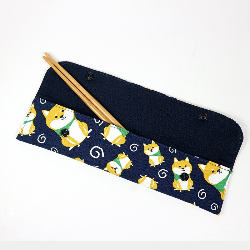 Green chopsticks sets / chopsticks sets / tableware storage bag - Shiba Inu (blue)