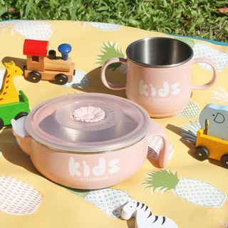 Pure titanium children's learning cups (double layer) - peach powder