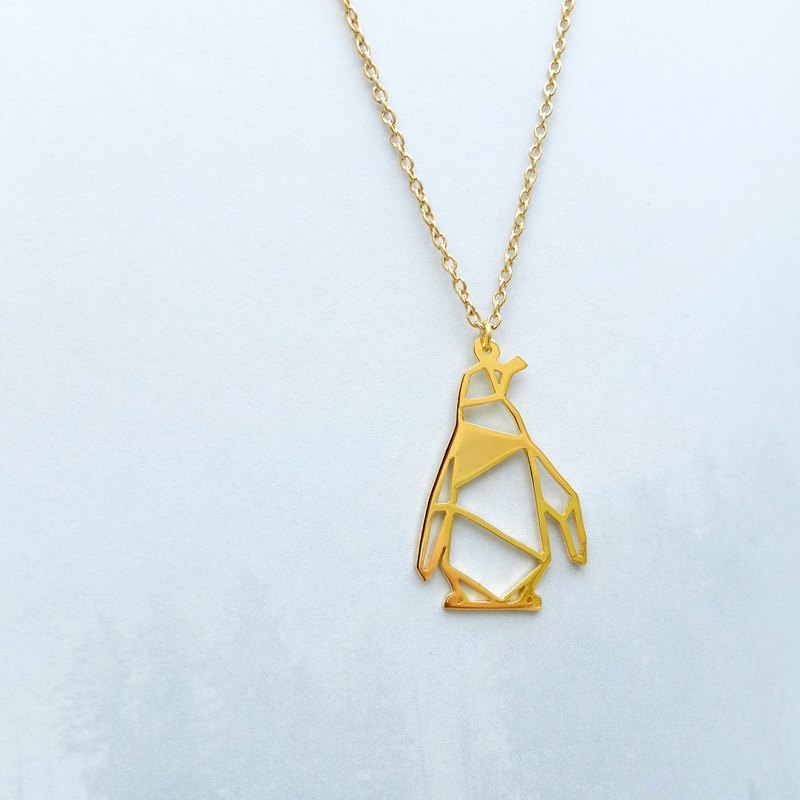 Penguin Necklace, Origami Animal Necklace, Gold Plated Brass Necklace