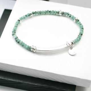 Sea color elegant natural stone silver bracelet │ pink green Yue unicorn 925 sterling silver Tibetan silver gift birthday accessories black line emerald chalcedony