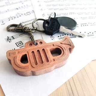 【Musical instrument series】 trumpet key ring Trumpet // cherry wooden key ring pendant