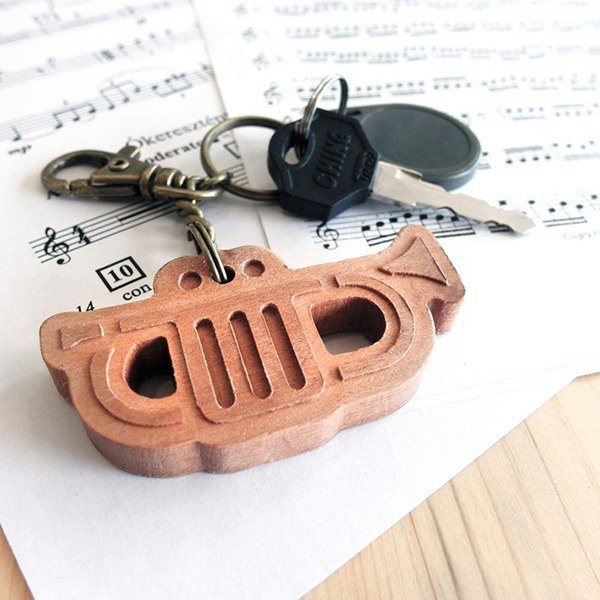 [Musical Instrument Series] Small Trumpet // Cherry Wooden Key Ring Pendant Charm