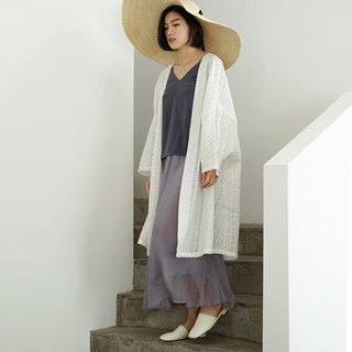 Remains independent of the world | white texture pattern long cardigan spring and summer dark stripes sunscreen loose Oversize smock
