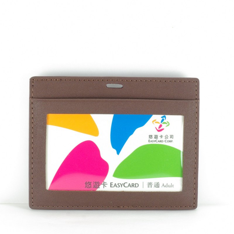 Classic vegetable-tanned horizontal double-layer ID card holder leather brown paid custom lettering