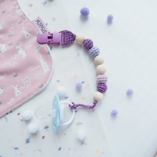 Birthstone Color Crochet Pacifier Clips - February Purple Amethyst