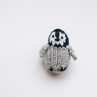 George the Emperor Penguin Chick- knitted amigurumi brooch