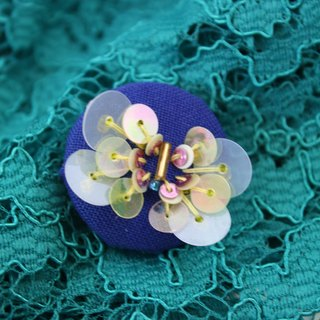 handmade yellow butterfly brooch,  round butterfly pin