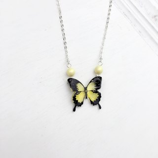 * Haku‧Neko * Classic black texture yellow swallowtail hand painted butterfly necklace