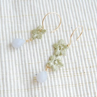 Race and drop-stone earrings Green (14kgf)