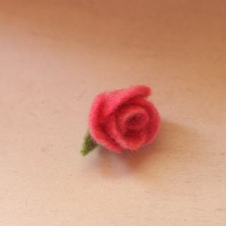 Mini rose brooch dark pink for money