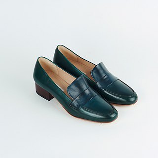 H THREE Round Head 3.4 Lok Fu Heel / Malachite Green / Heel Shoes / Leather Shoes