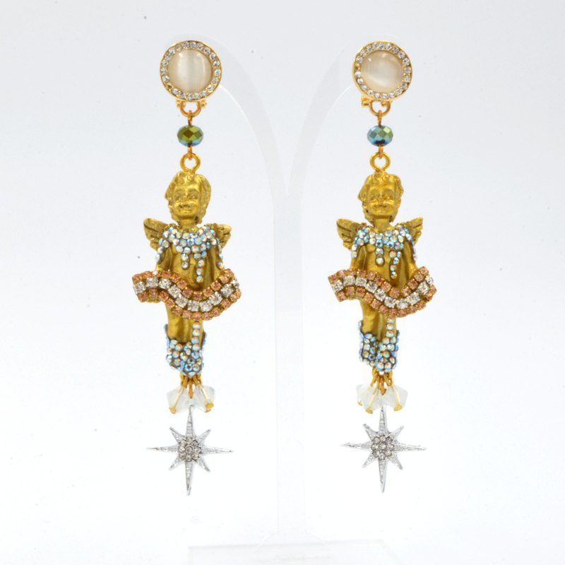 Golden Angel Crystal Stone Earrings Luxury Lady Wind Baroque Sicily D&G Style