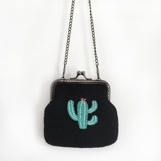 Cactus Embroidered Woolen Felt Neck Pack / Coin Purse