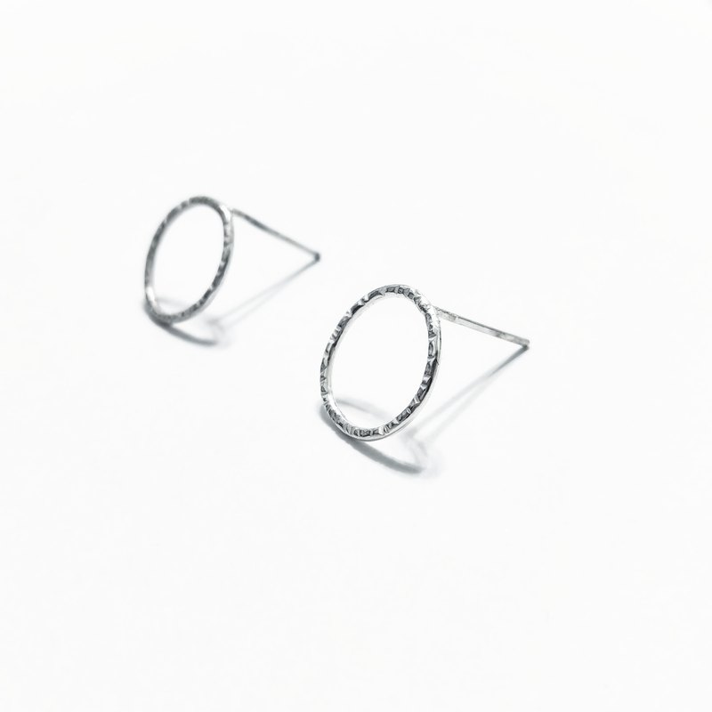 │幾何│紋理圈圈 • 純銀耳環 • 耳夾