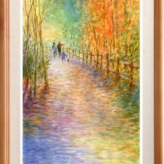Watercolor picture Original picture Autumn leaves walking path