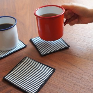 Tannin denim coasters - straight stripes