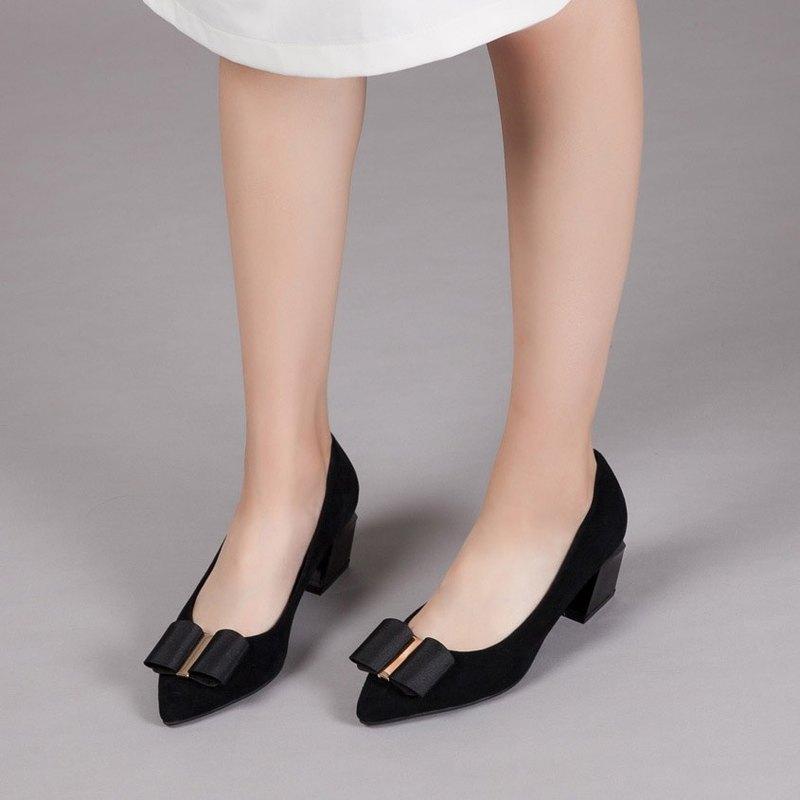 零碼-【時尚伸展台】大蝴蝶結全真皮幾何造型跟鞋_氣質純黑