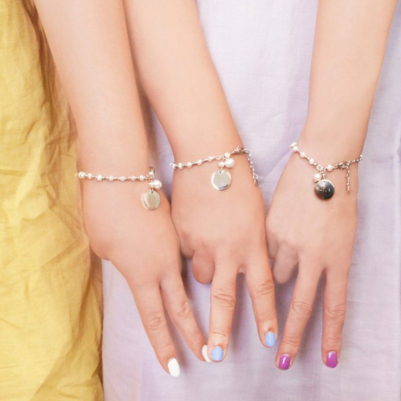 *Girlfriend Bracelet*Stainless Steel Pearl Bracelet Happiness
