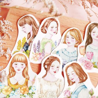 Girl flowers in full bloom in the stickers group