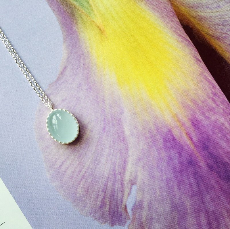 925 sterling silver elegant and quiet [sea sapphire necklace]