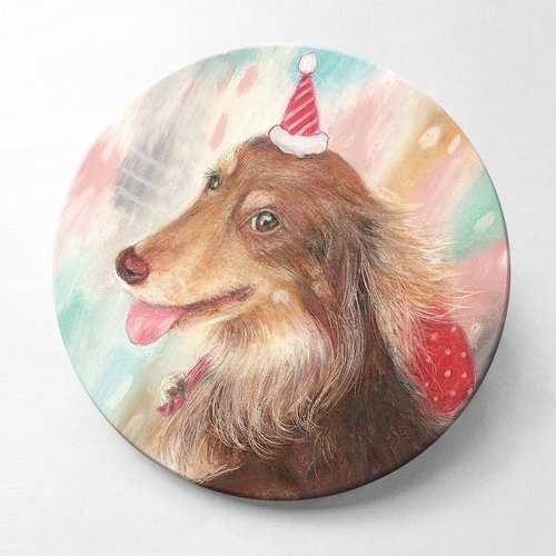Birthday dachshund - ceramic absorbent coaster