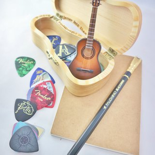 [Guitar styling log box] mini guitar small things storage wooden box handmade texture collection gift