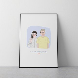 Custom Portrait illustration ,Reorganise of couple with pets ( Half Body )