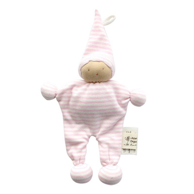 埃及製 有機棉安撫娃娃-粉紅條