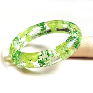 FlowerSays / HydrangeaBaby's Breath Real Flower Bracelet / GreenCollection / Ete