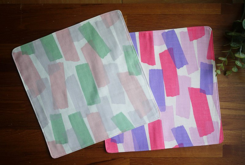 Limited edition = Japanese double yarn handkerchief = water color block = a total of 2 colors-lime / grape