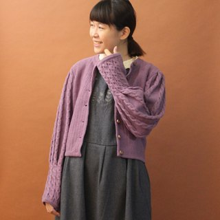 Vintage European Country 藕 Purple Vintage Wool Knit Sweater Jacket Vintage Outer