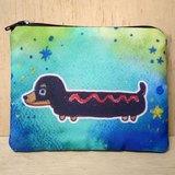 {可客製化手寫名字}手繪渲染水彩風格圖案 黑色 臘腸狗 鑰匙包 零錢包 卡片包