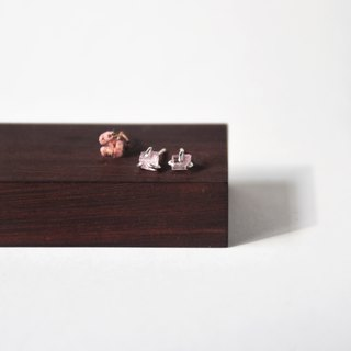 Handmade Raw Pink Tourmaline with sterling silver Stud Earring