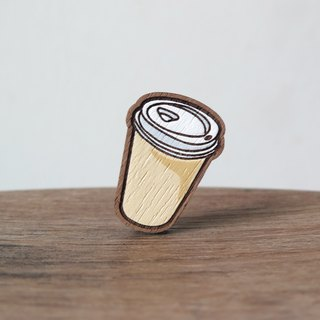 Wooden Brooch Coffee ~ Coffee paper cup