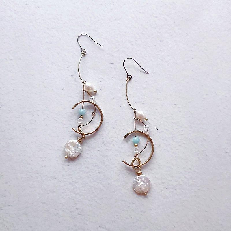 白日的觀海實驗/耳環/耳夾/淡水珍珠