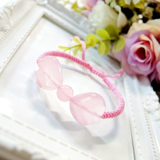 """Heart to heart heart and soul together"" sweet and lovely pink crystal bow braided bracelet"