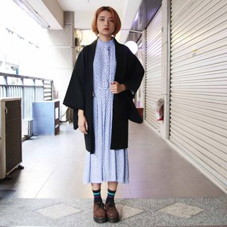 Tsubasa.Y 古着屋012 Flower cluster embroidery black feather woven, blouse jacket kimono Japanese style