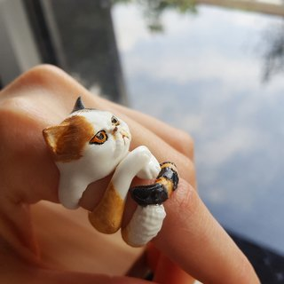 3D Print ~ Hand-painted stinky cat 3 piece stackable ring set