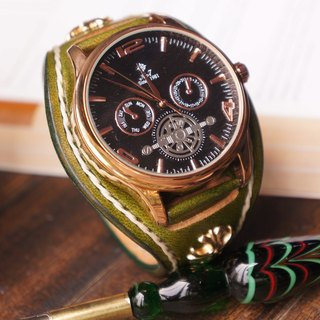 AT – Handmade –Grass green tanned leather strap with black quartz movement.