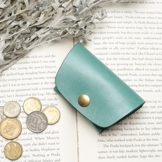 Minimal marine blue hand dyed yak leather handmade coin purse