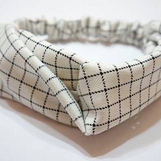 White small plaid / handmade elastic hair band