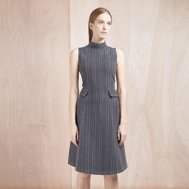 <Limited time offer until July 13> Gray Stripe Sock-neck Dress - Hong Kong Original Brand Lapeewee