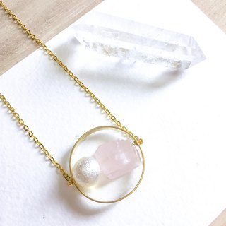 Rose Quartz Pink Raw Stone Necklace