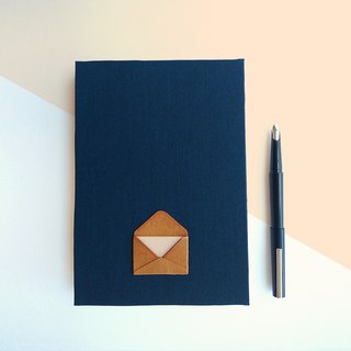 Handmade book/notebook (A5 size) darkblue with envelope on cover