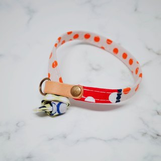 Cat collars, French style, dots, orange & blue_CCJ090441