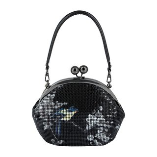 CoinQian retro gold purse flowers and birds painting a small black bag