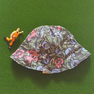 Flowers x Black - Handmade Bucket Hat | Double sided