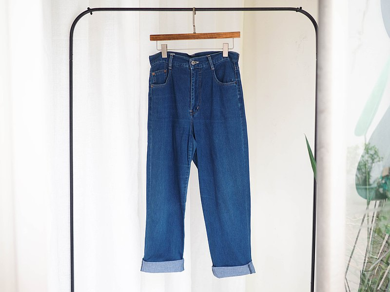 blue way W31 bright blue soft cotton youth weekend time cotton denim antique trousers vintage