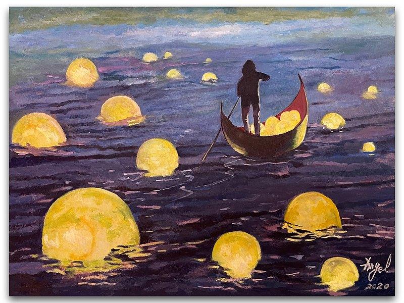 月之河/數位板畫/ 乘載著豐盛與充滿希望的未來/掛畫/無框畫/油畫